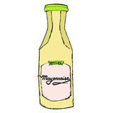 Mayonnaise bottle with hand drawn letters. Colorful sketching il Royalty Free Stock Photography