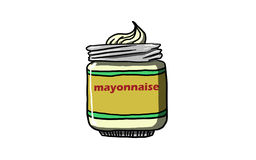 Mayonnaise BOTTLE, illustration. Mayonaise BOTTLE, ANTIQUE STYLE on white background illustration Stock Images