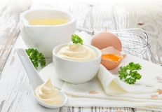 Mayonnaise in bowl Stock Image