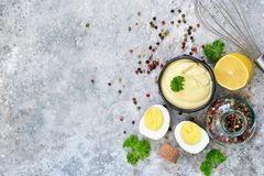 Mayonnaise is a classic homemade salad dressing. Top view royalty free stock photography