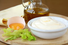 Mayonnaise with egg and olive oil Royalty Free Stock Photo