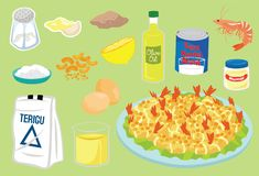 Mayonnaise Fried Prawn Ingredients Vector Illustration. For many purpose such as cooking book, cooking blog or website, home or cafe, restaurant and kitchen Vector Illustration