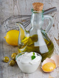 Mayonnaise with ingredients royalty free stock photos