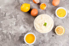 Mayonnaise with ingredients Stock Photos