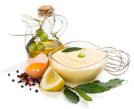 Mayonnaise and ingredients Royalty Free Stock Image