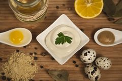Mayonnaise ingredients on rustic wood background.The concept of healthy eating royalty free stock photos