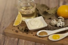 Mayonnaise ingredients on rustic wood background.The concept of healthy eating stock photo