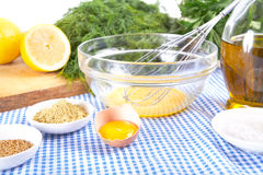 Mayonnaise ingredients on tablecloth Stock Photo