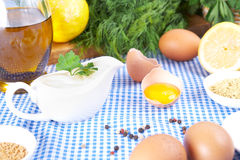 Mayonnaise ingredients on tablecloth Stock Photos