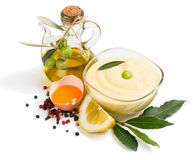 Mayonnaise with olive oil Stock Images