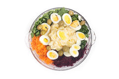 Mayonnaise potato salad. On white background stock photos