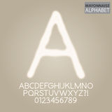 Mayonnaise Sauce Alphabet and Numbers Vector. Set of Mayonnaise Sauce Alphabet and Numbers Vector Vector Illustration