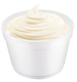 Mayonnaise sauce in the plastic cup. Royalty Free Stock Image