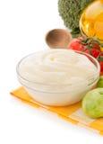 Mayonnaise sauce on white background Royalty Free Stock Photos