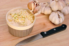 mayonnaise with some fresh garlic Royalty Free Stock Image