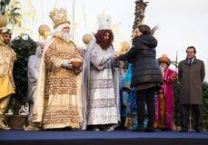 Mayor of Barcelona welcomes kings Stock Photography