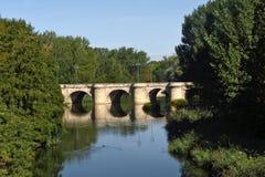 Mayor bridge in Palencia, Castilla y Leon,. Spain stock photography