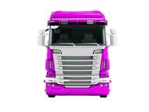 Mayor camión violeta para el transporte de las mercancías para la vista delantera 3d de las distancias largas no rendir en el fon stock de ilustración