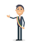 Mayor Character Flat Style Vector Illustration Royalty Free Stock Image
