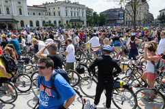 Mayor cycling event in Cracow with 3500 participants Stock Images
