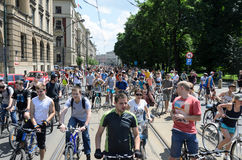 Mayor cycling event in Cracow with 3500 participants Royalty Free Stock Images