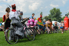 Mayor cycling event in Cracow with 3500 participants Stock Photos