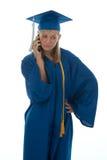 Mayor de graduación en el teléfono Foto de archivo