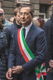 Mayor Giuseppe Sala takes part in the Liberation Day parade Royalty Free Stock Photos