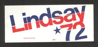Mayor John Lindsay Campaign Sticker. Official bumper sticker from the unsuccessful presidential campaign of New York City Mayor John Lindsay Royalty Free Stock Photography
