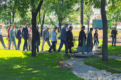 Mayor of Kiev Vitali Klitschko and Mayor of Kyoto Daisaku Kadokawa inspect the park after reconstruction. Stock Photos