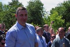 Mayor of Kiev Vitali Klitschko and Mayor of Kyoto Daisaku Kadokawa are preparing to plant an sakura tree Stock Photos