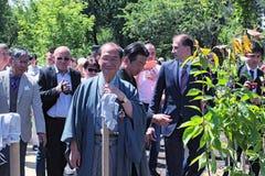 Mayor of Kyoto Daisaku Kadokawa is preparing to plant an sakura tree Stock Photos