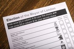 Mayor Londyński wybory Fotografia Royalty Free