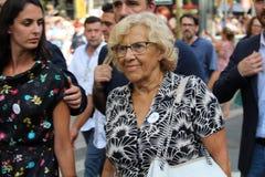 Mayor of Madrid Manuela Carmena at manifestation against terrorism Stock Image