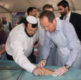 Mayor Nir Barkat At A matzah baking workshop Royalty Free Stock Photos