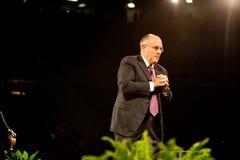 Mayor Rudy Giuliani. SACRAMENTO, CA - February 24, 2009: Rudy Giuliani speaking at a Get Motivated Seminar at the Arco Arena in Sacramento, California Stock Images