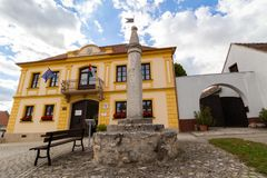 Mayor`s office and pillory in Fertorakos, Hungary royalty free stock images