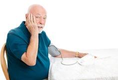 Mayor sorprendido por la presión arterial imágenes de archivo libres de regalías