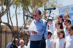 Mayor of Tel Aviv addressing people on Memorial Day Royalty Free Stock Photos