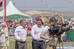 Mayor of Volgograd Andrei Bocharov and the President of Tatarstan Rustam Minnikhanov at festival Rural Sabantui-2014 Stock Photo