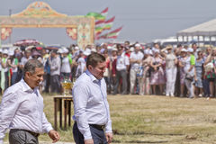 Mayor of Volgograd Andrei Bocharov and the President of Tatarstan Rustam Minnikhanov at festival Rural Sabantui-2014 Royalty Free Stock Photos