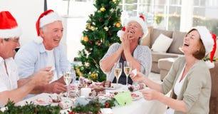 Mayores el día de la Navidad Imagen de archivo libre de regalías