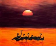 Mayores flamencos en la salida del sol, pintura de acrílico Fotografía de archivo libre de regalías