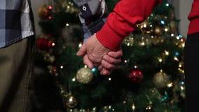 Mayores que llevan a cabo las manos que expresan amor y la ayuda almacen de video