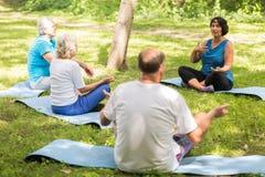 Mayores que se sientan en las esteras del ejercicio en un parque Fotos de archivo
