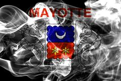 Mayotte smoke flag, France dependent territory flag.  Royalty Free Stock Photography