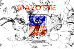Mayotte smoke flag, France dependent territory flag. On a white background Royalty Free Stock Photo
