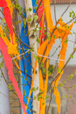 Maypole at the building Stock Image