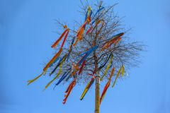 Maypole with colored ribbons. / Maypole against the blue sky royalty free stock photo