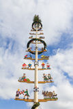 Maypole with illustrations of different crafts. Maypole or Maibaum with illustrations of different crafts Stock Photo